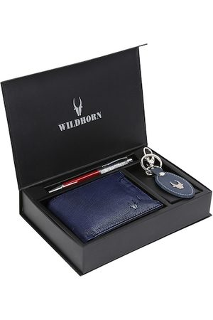 WildHorn Men Blue & Red RFID Protected Genuine Leather Wallet & Pen Accessory Gift Set