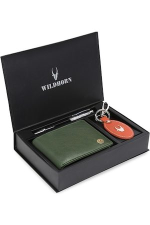 WildHorn Men Brown & Red RFID Protected Genuine Leather Accessory Gift Set