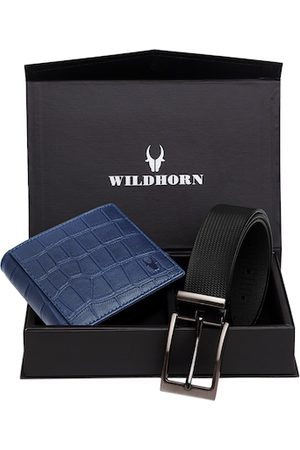 WildHorn Men Blue & Black RFID Protected Genuine Leather Accessory Gift Set