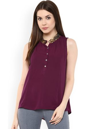 Mayra Women Burgundy Embellished High-Low Longline Top