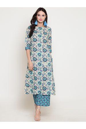 Sera Women Blue & Beige Printed Straight Kurta