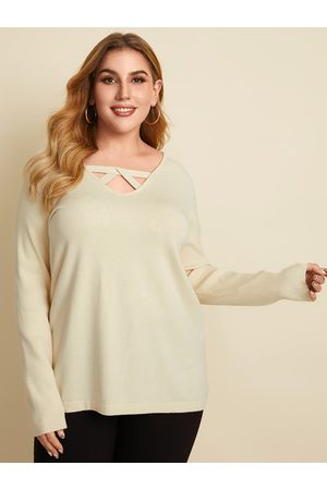 YOINS Plus Size V-neck Hollow Design Long Sleeves Sweater