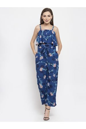 Jompers Women Blue Printed Basic Jumpsuit