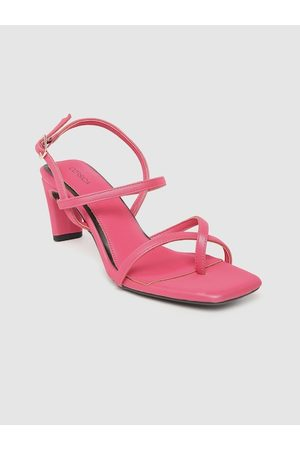 Corsica Women Fuchsia Pink Solid Strappy One-Toe Block Heels