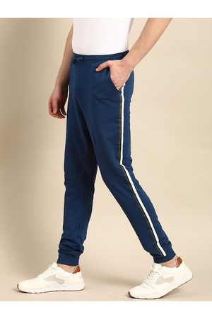 Ether Men Blue Slim Fit Solid Joggers With Side Stripe Detail