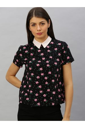 Chemistry Women Black & Pink Floral Printed Polo Collar T-shirt