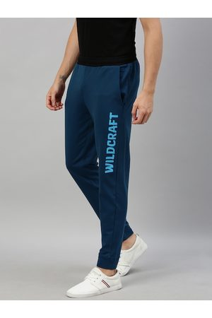 Wildcraft Men Teal Blue Solid Straight Fit Joggers With Printed Detail