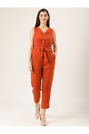 Quiero Women Rust Orange Solid Cropped Basic Jumpsuit