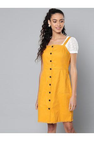 STREET 9 Women Mustard Yellow Solid Pinafore Dress