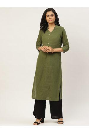 Jaipur Women Olive Green & Black Solid Kurta with Palazzos