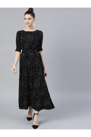 STREET 9 Women Black Printed Maxi Dress