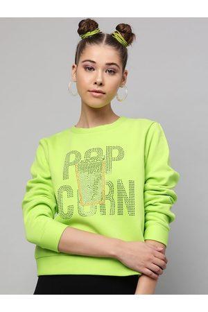 STREET 9 Women Fluorescent Green Printed Sweatshirt