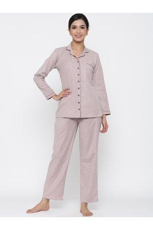 Jaipur Women Beige Solid Night suit
