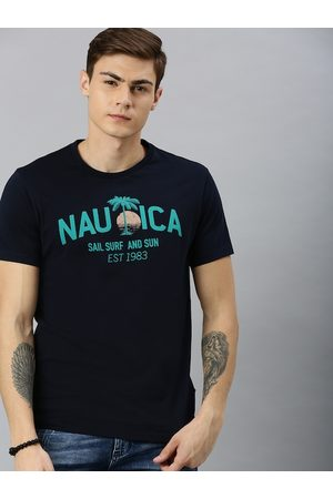 Nautica Men Navy Blue Printed Round Neck T-shirt