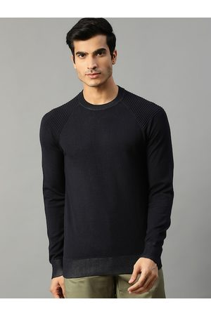 Matinique Men Navy Blue Solid Pullover Sweater