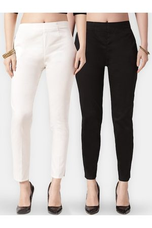 Jompers Women Pack of 2 Black & White Smart Slim Fit Solid Cigarette Trousers