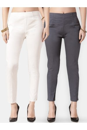 Jompers Women Grey & White Pack of 2 Smart Skinny Fit Solid Cigarette Trousers