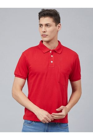 CHKOKKO Men Red Solid Polo Collar T-shirt