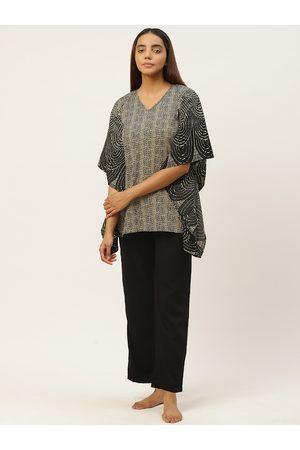 Cottinfab Women Black & Beige Geometric Print Night suit