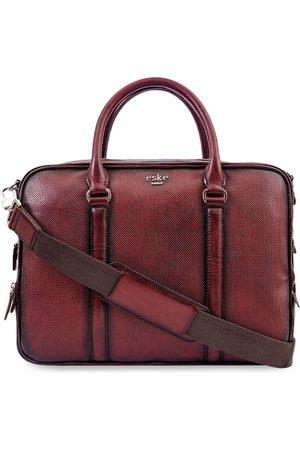 Eske Men Burgundy Textured Leather Laptop Bag