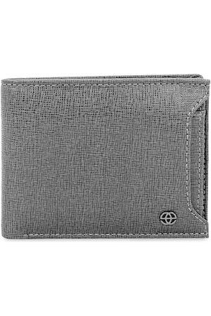 Eske Men Grey Solid Two Fold Leather Wallet