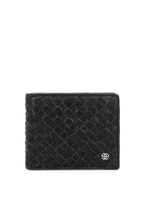 Eske Men Black Woven Design Leather Two Fold Wallet