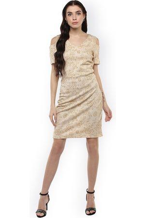 Harpa Women Beige Self Design Bodycon Cold Shoulder Dress