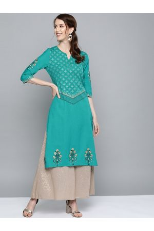 HERE&NOW Women Green & Golden Ethnic Print Straight Kurta