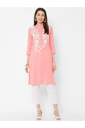 Vedic Women Pink Embroidered A-Line Kurta