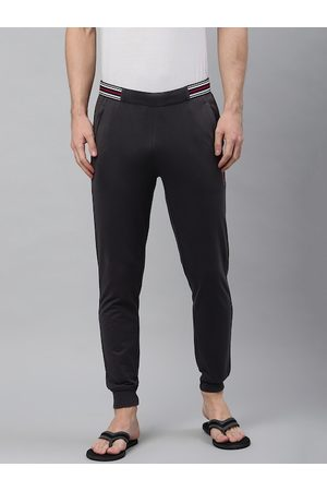Sweet Dreams Men Charcoal Grey Solid Lounge Joggers