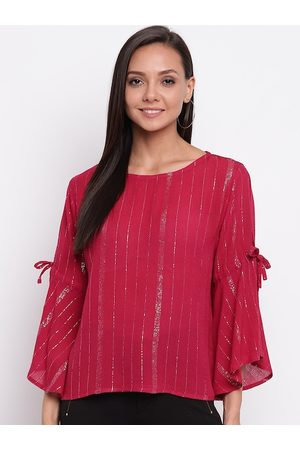 Mayra Women Magenta Shimmer Bell Sleeves Top
