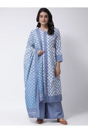 Hangup Women Blue & Off-White Printed Kurta with Palazzos & Dupatta