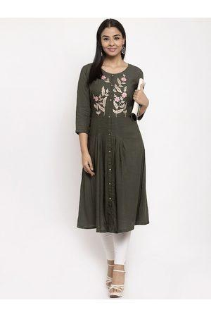 Aujjessa Women Green & Cream-Coloured Yoke Design A-Line Kurta
