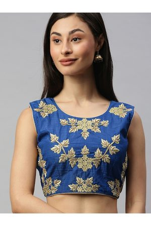 Amrutam Fab Women Blue & Gold-Toned Embroidered Saree Blouse