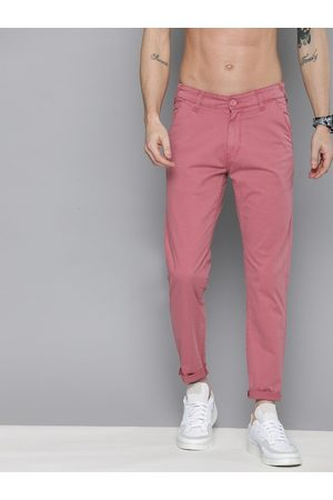 HERE&NOW Men Pink Slim Fit Solid Chinos