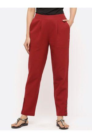 Jaipur Women Maroon Regular Fit Solid Regular Trousers