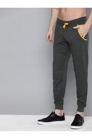 HERE&NOW Men Charcoal Grey Solid Regular Fit Joggers