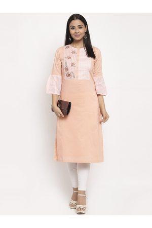 Aujjessa Women Peach-Coloured & White Printed Straight Kurta