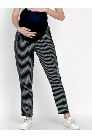 Mine4Nine Women Green & White Straight Fit Striped Maternity Regular Trousers
