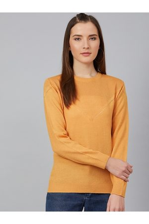 Cayman Women Mustard Yellow Solid Pullover Sweater