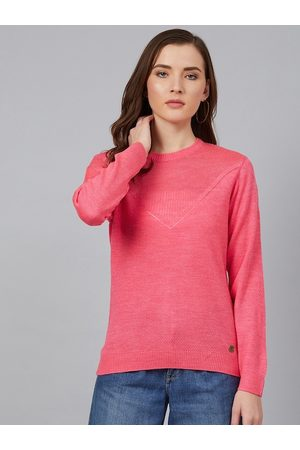 Cayman Women Pink Solid Pullover Sweater