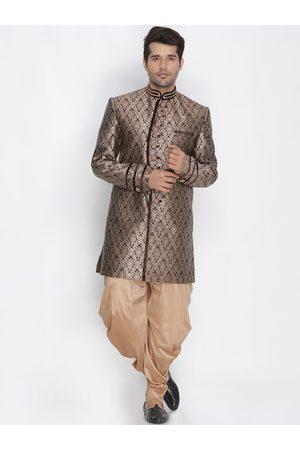 Vastramay Men Brown & Gold-Colour Woven-Design Sherwani Set