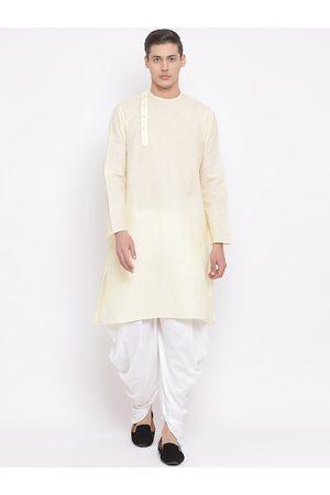 Vastramay Men Cream-Coloured & White Solid Kurta with Dhoti Pants