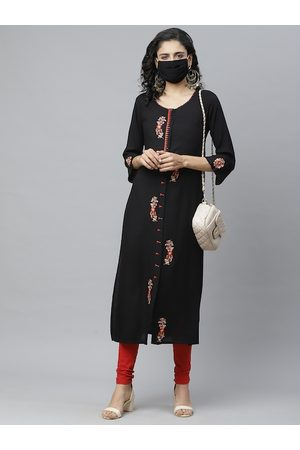 Cayman Women Black & Red Embroidered Straight Kurta With Mask