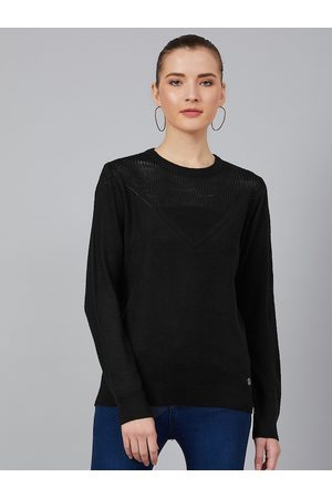 Cayman Women Black Solid Sweater With Self Design Detail
