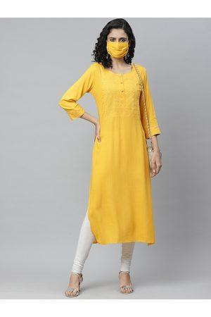 Cayman Women Yellow Yoke Design Straight Kurta With Mask