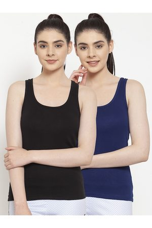 Friskers Women Pack of 2 Solid Tank Tops