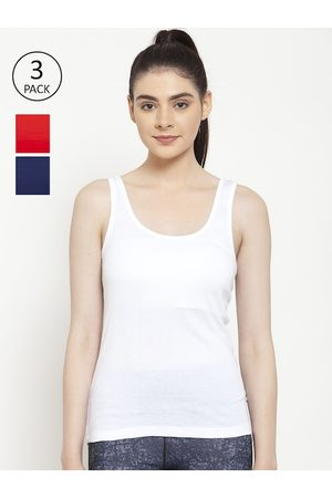 Friskers Women White Solid Tank Top