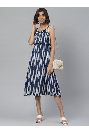 Yash Gallery Women Navy Blue & White Abstract Print Empire Dress