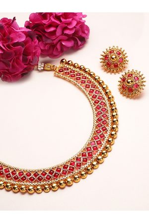 Rubans Gold-Plated & Red Ruby Stone-Studded Handcrafted Jewellery Set